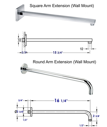 shower arm wall mount and ceiling mount - Shower Arm Extension
